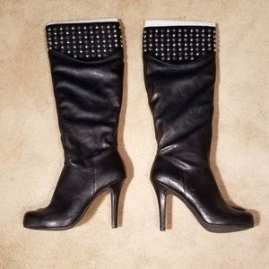 BCBGeneration Franciss Black Studded Heel Boot